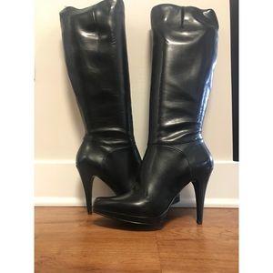 ✨ Platform Black Leather Heeled Nine West Boots